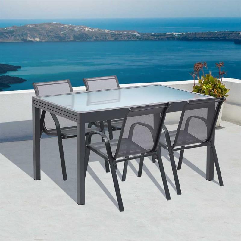 table de jardin extensible en verre et