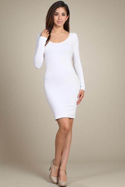 Long Sleeve White Slip Dress Jade