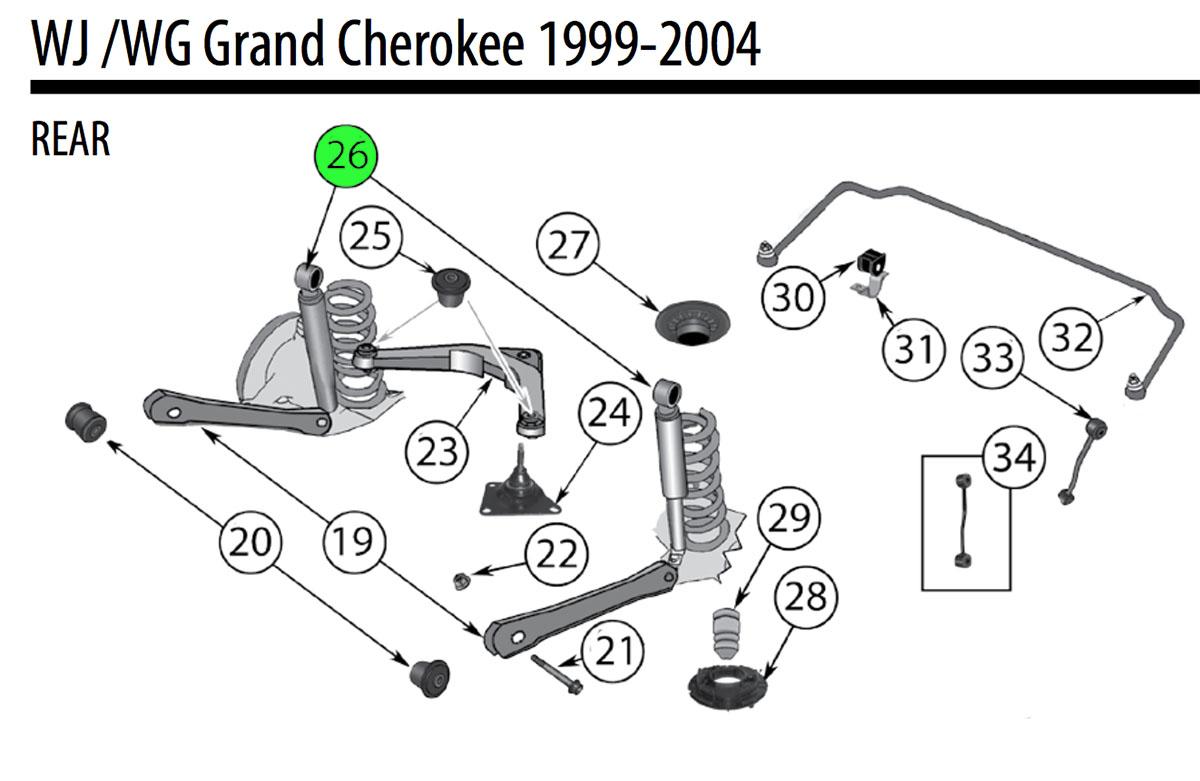 Jeep WJ Cherokee Rear Shock Absorber 52088221AF