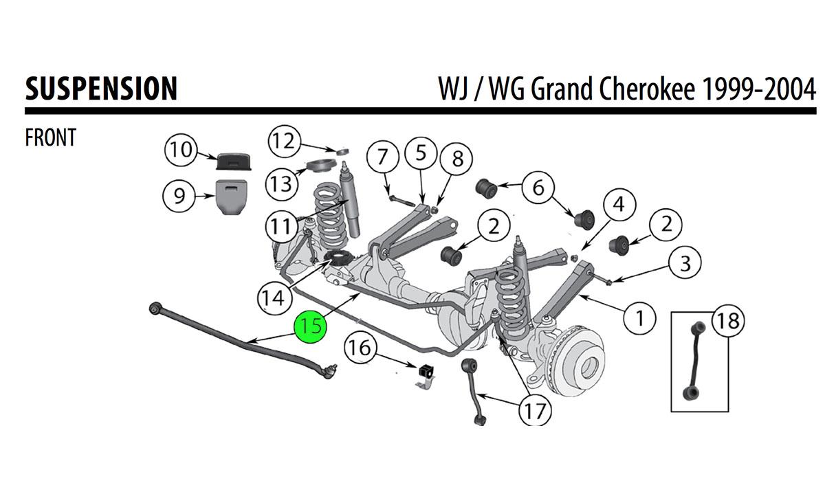 Jeep WJ Cherokee 4.0L 4.7L Front Track Bar 52088305AB
