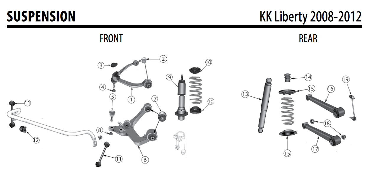Jeep KK Liberty Rear Lower Control Arm 52125321AB