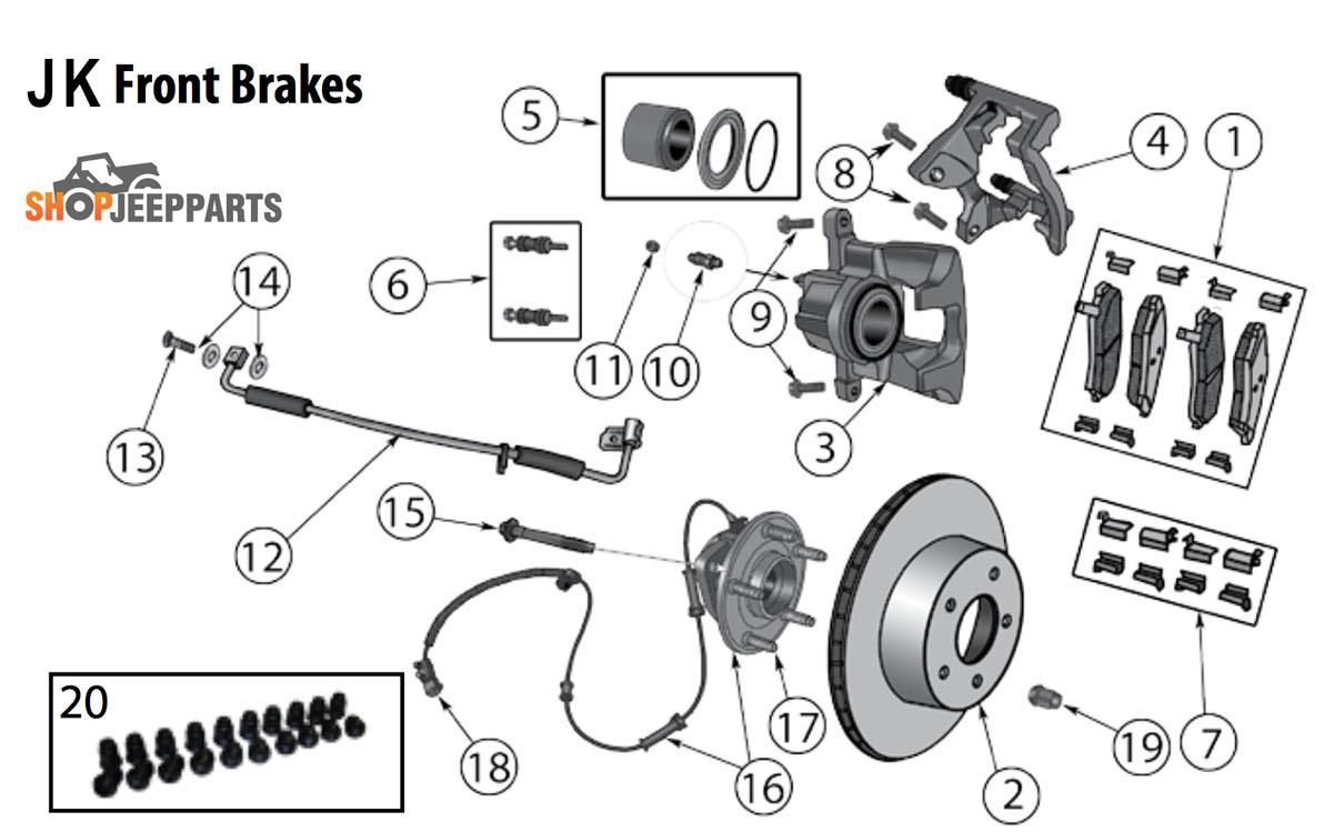 2007-18 Jeep Wranglers JK Front Brake Parts