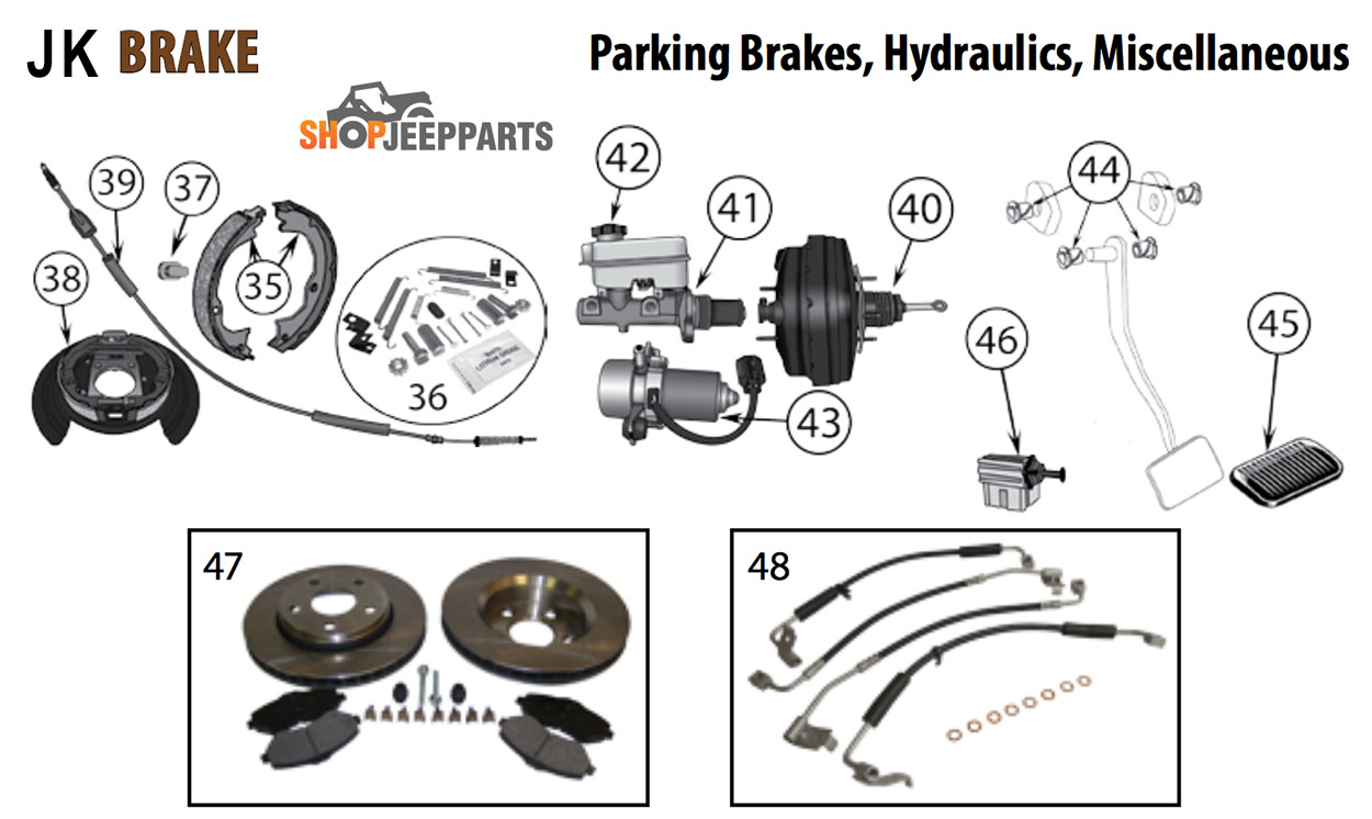 2007-18 Jeep Wranglers JK Parking Brake Parts