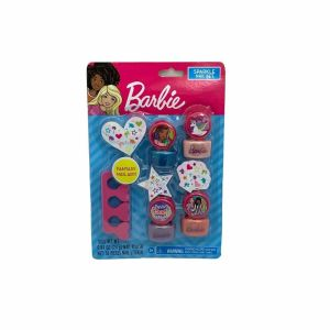 Barbie Sparkle Nail Set – 4 polish colors + 56 nail stickers. Mani Pedi at Home
