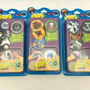 Retro Kaps Random Lot of 3 Booster Pack Plastic Slammer plus 10 Pogs x3