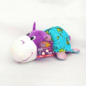 FlipaZoo Original Hetal Hippo and Janika Giraffe  Sequin Toy Stuffed Animal