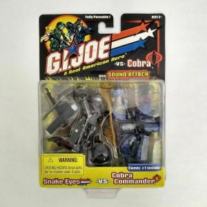 GI Joe Snake Eyes vs Cobra Commander Figure Pack Set w/ Sound Attack
