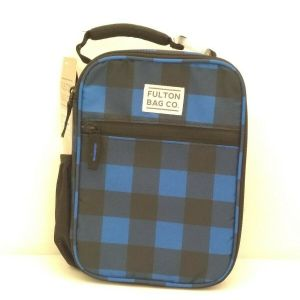 Fulton Bag Co. Insulated Lunch Box – Blue & Black Checks – hard liner – New