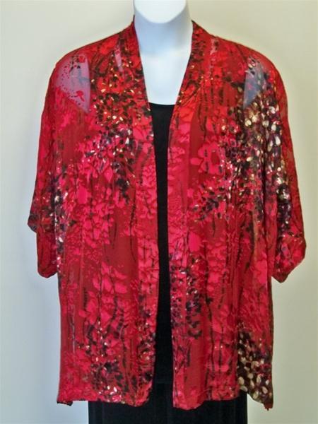 Red Burnout Silk Kimono Jacket Plus Size