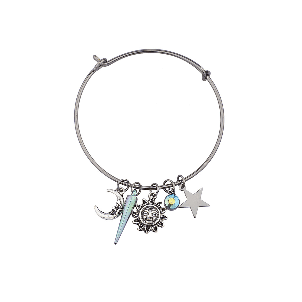 Hematite Sun Moon Stars Sliding Charm Bangle Bracelet