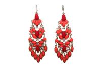 Red Orange Stone Cluster Statement Earring - Earrings