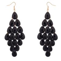 Dangle Hanging Chandelier Statement Earrings Black - Earrings