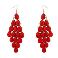 Dangle Hanging Chandelier Statement Earrings Red - Earrings
