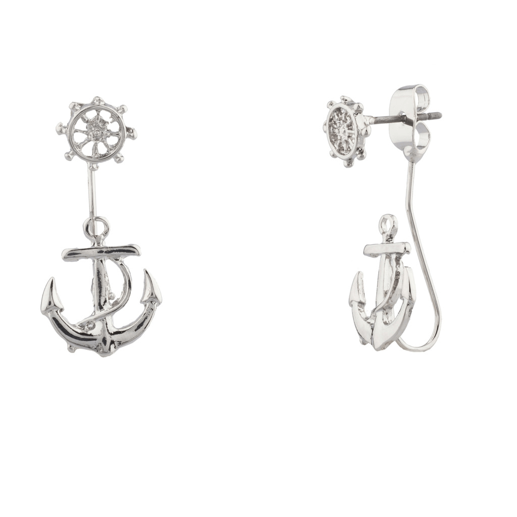 Anchor Refuse To Sink Ship Boat Wheel Earrings