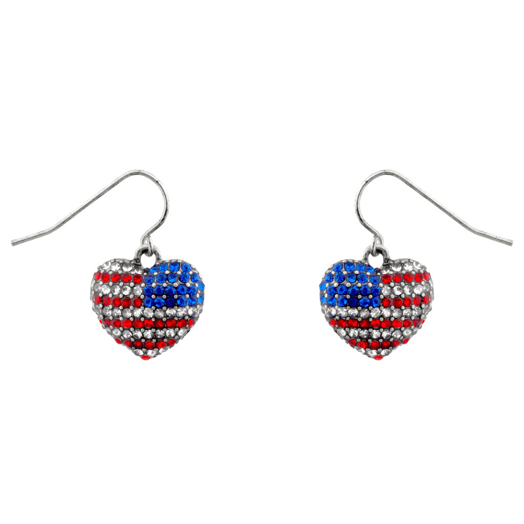 God Bless American Pave Crystal Flag 4th Of July Heart
