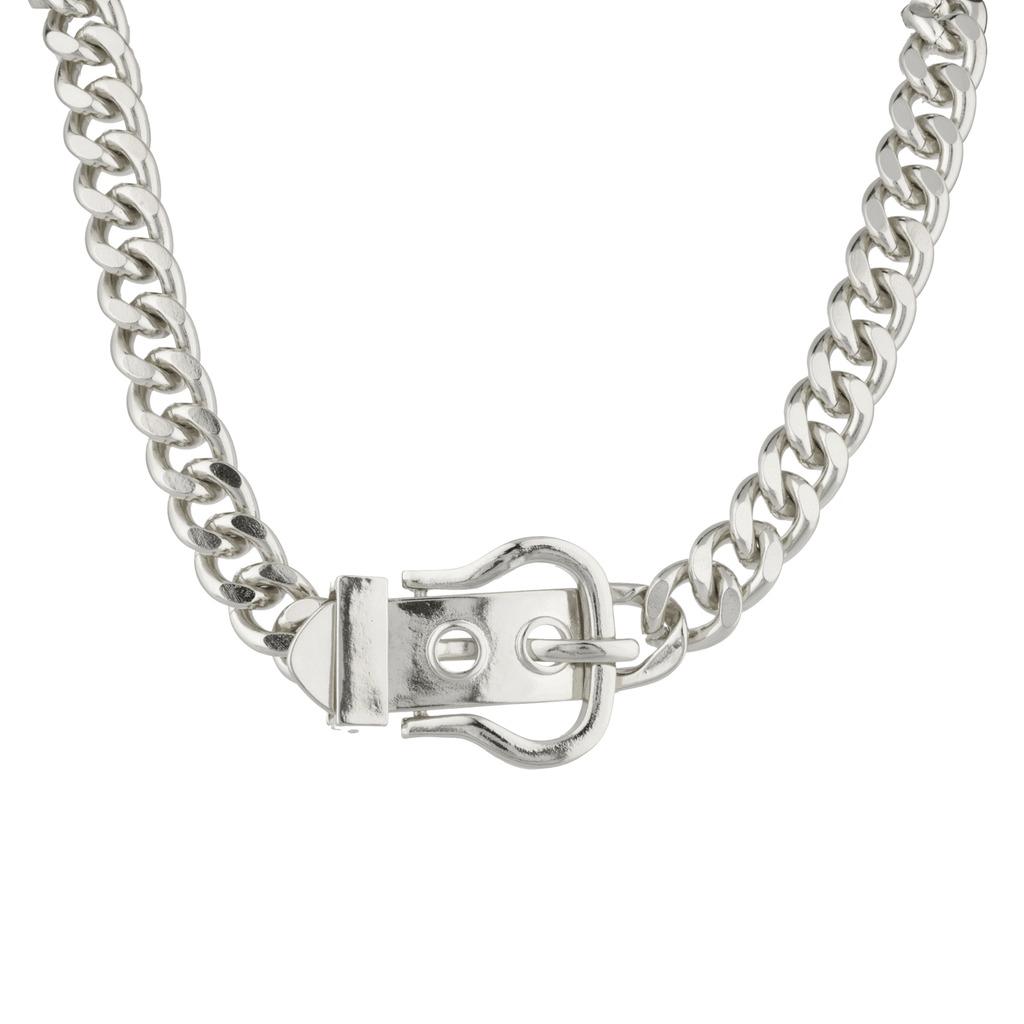Belt Buckle Chain Link Statement Necklace