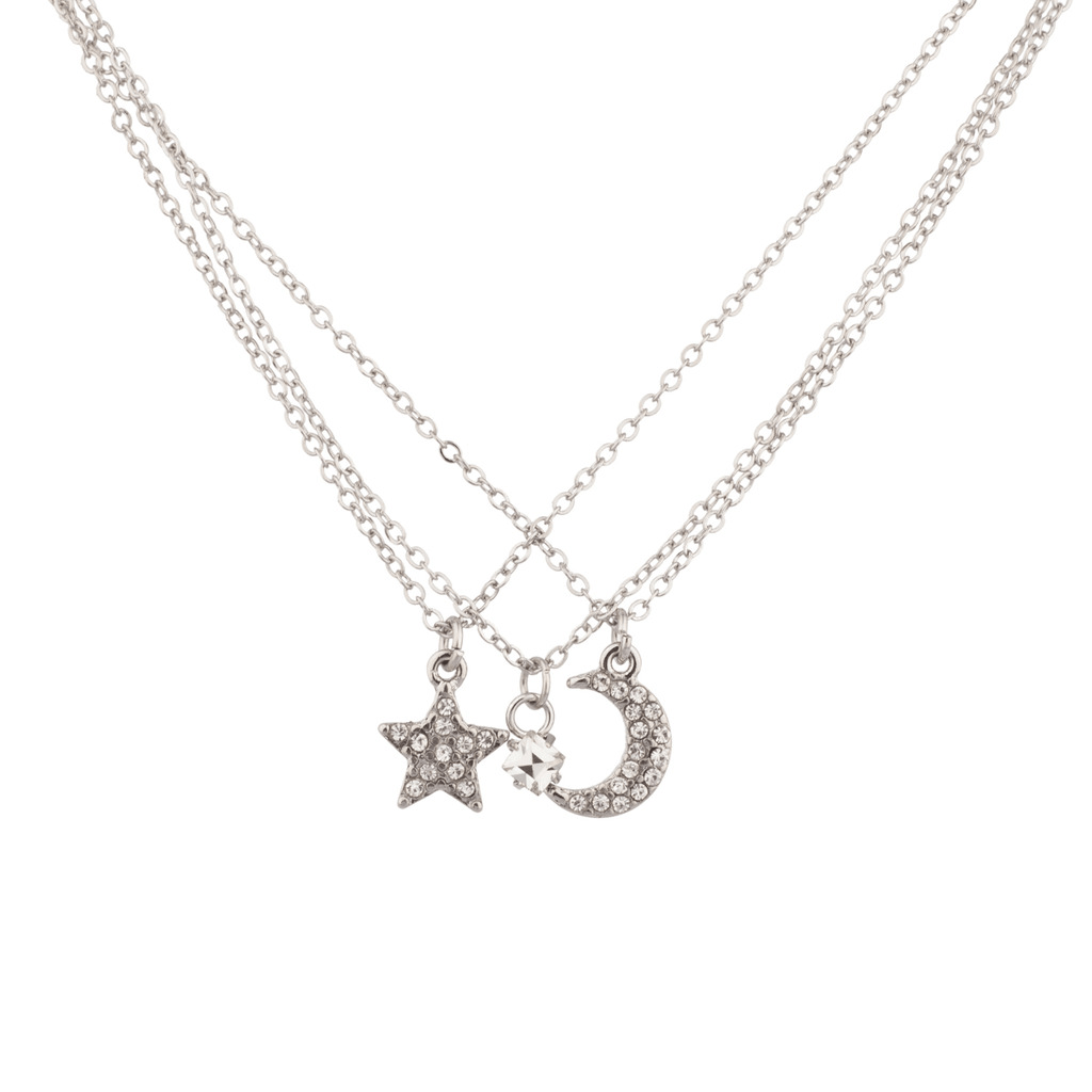 Pave Crystal Galaxy Crescent Moon Star BFF Best Friends