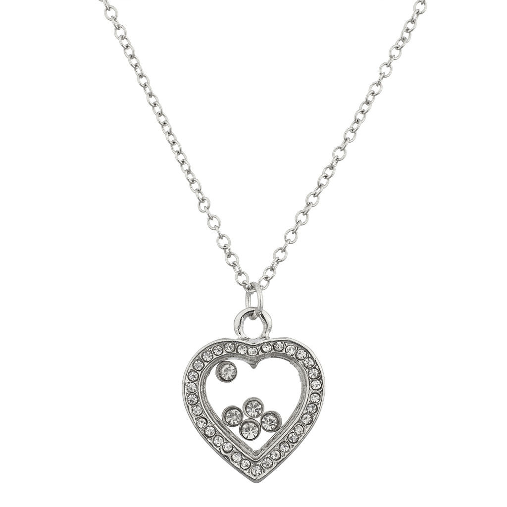 Silver Tone Love Pave Floating Crystals Heart Pendant Necklace