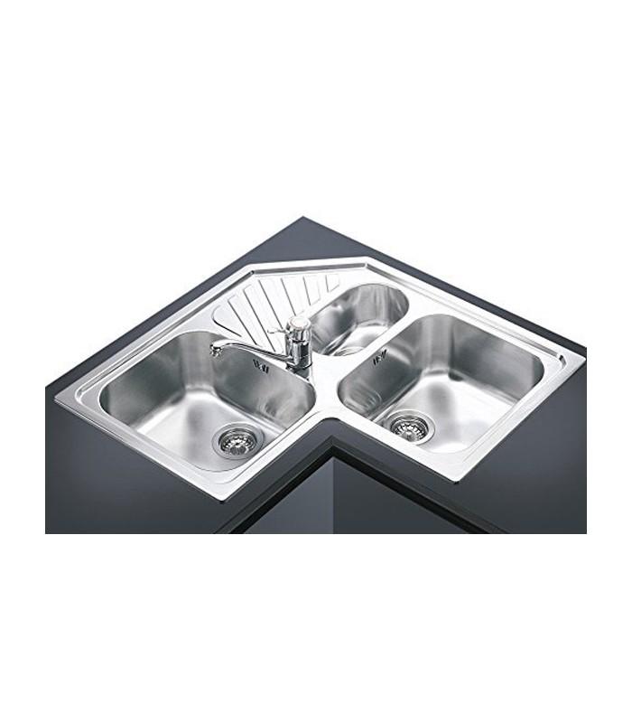 Lavello angolare a 3 vasche da cucina in acciaio inox Smeg
