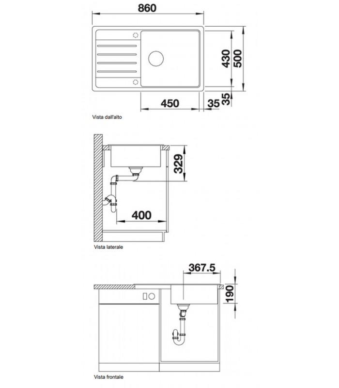 Lavello rettangolare per cucina in Silgranit BLANCO LEGRA