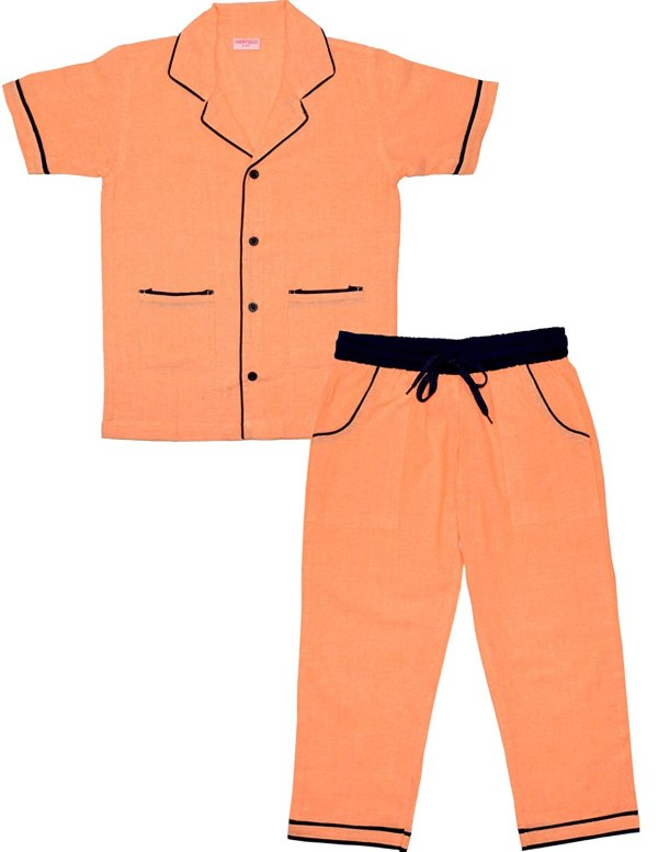 SHOPMOZO Unisex Pure Cotton Solid Printed Short Sleeve Night Suit for Boys and Girls Pyjama Top Combo Set (SM-00293UNISEXSWPT Peach)