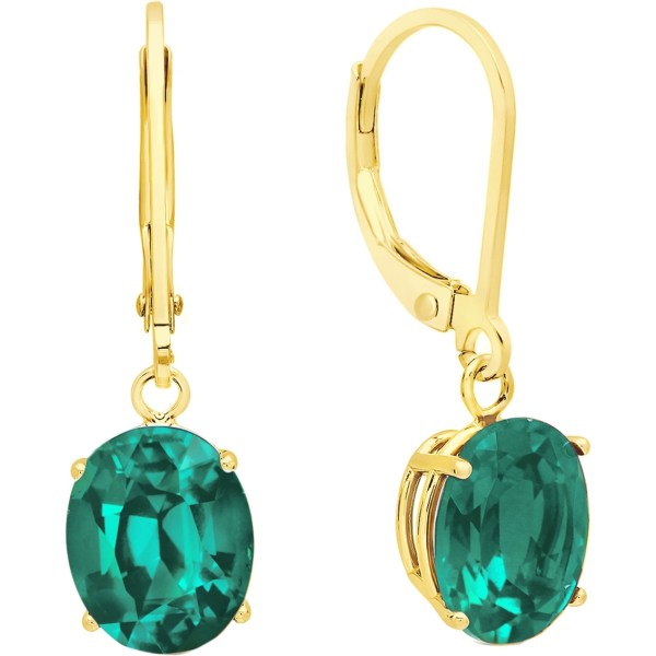 14k Yellow Gold Oval Created Emerald Leverback Earrings Gemstone Jewelry & Watches