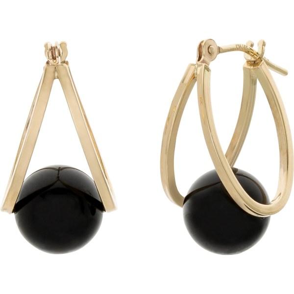 10k Yellow Gold Captured Black Onyx Hoop Earrings Gemstone Jewelry & Watches