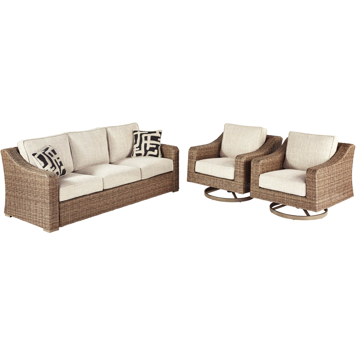 ashley beachcroft sofa and two swivel lounge chairs set patio sets patio garden garage shop the exchange