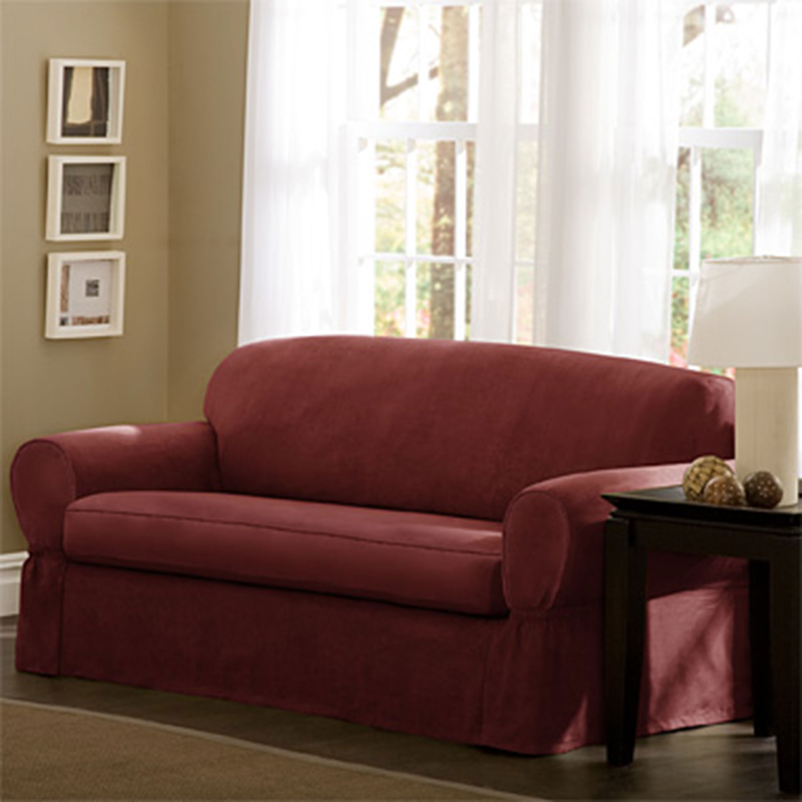 faux suede sofa cover fix bed maytex piped 2 pc slipcover slipcovers