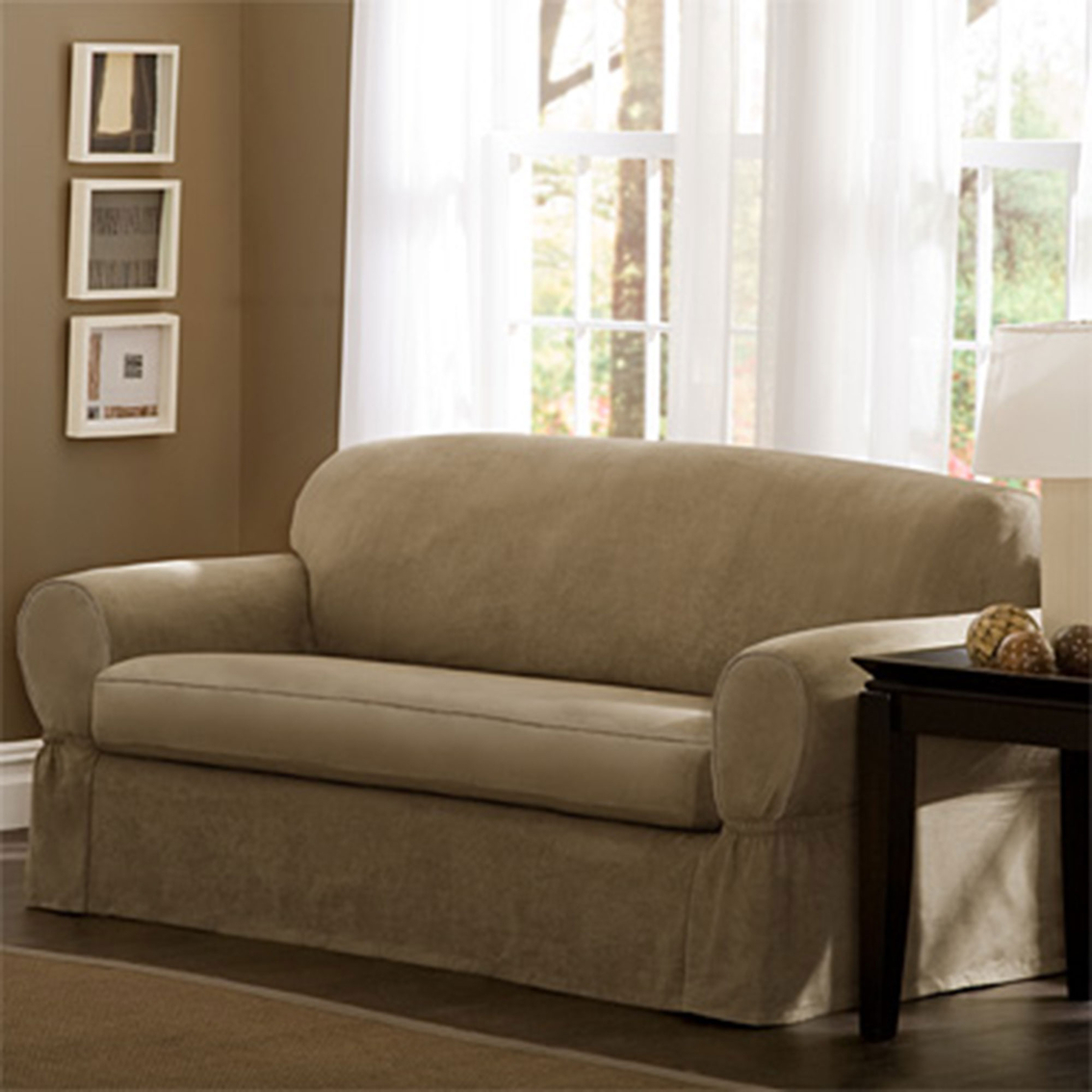alex ii 89 sofa slipcover set full hd photos maytex piped faux suede 2 pc slipcovers