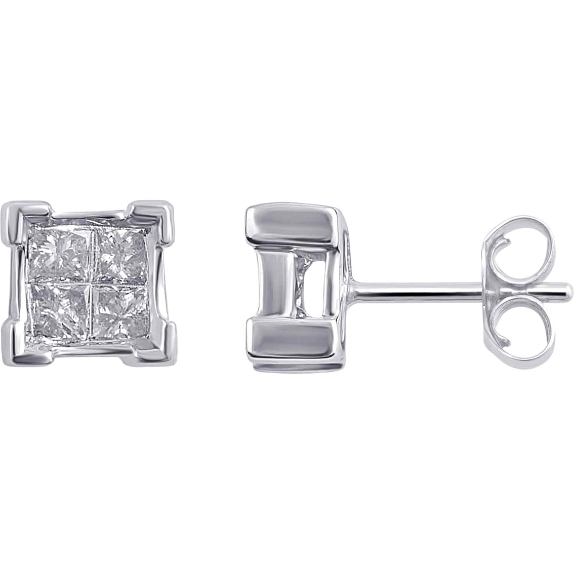14k White Gold 1 3 Ctw Square Shaped Diamond Earrings