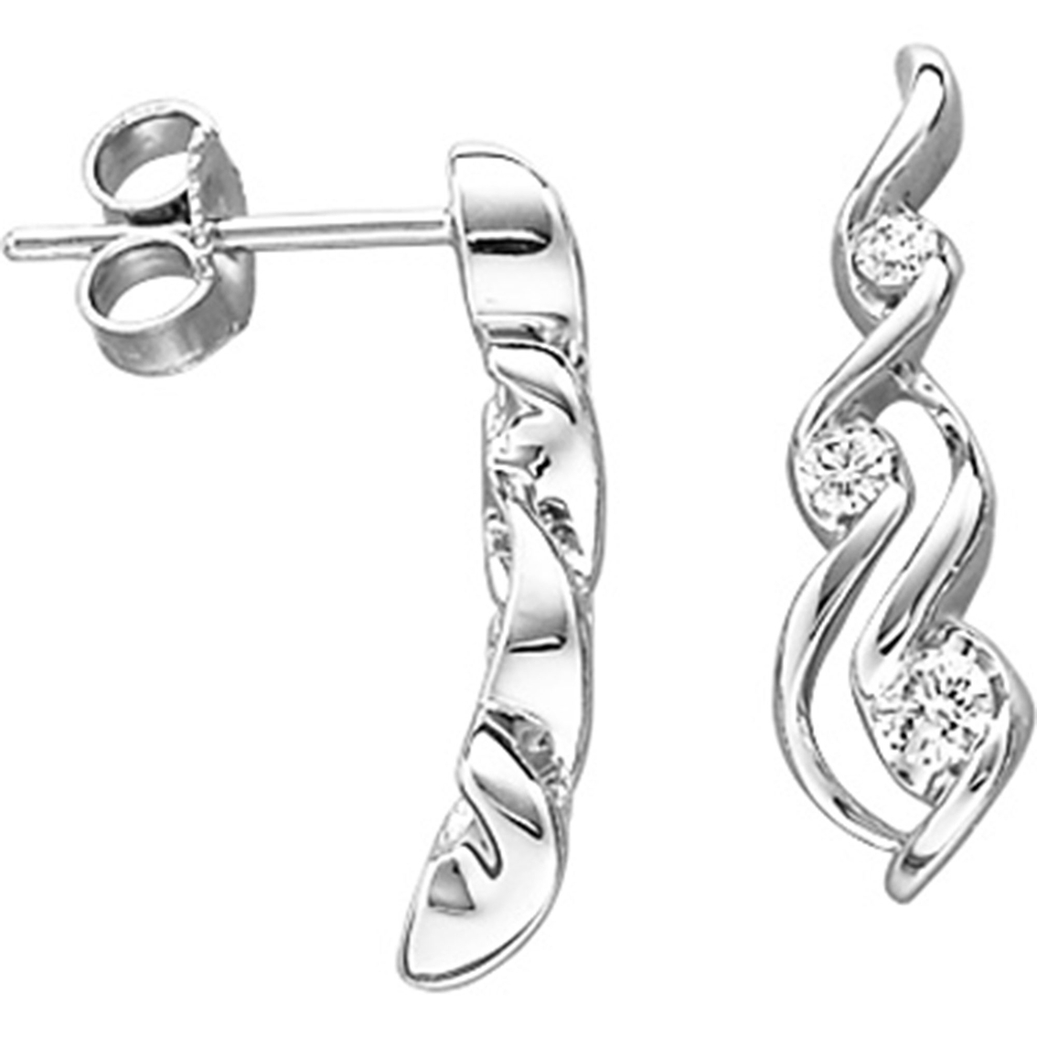 Sirena 14k White Gold 1 5 Ctw 3 Stone Diamond Earrings