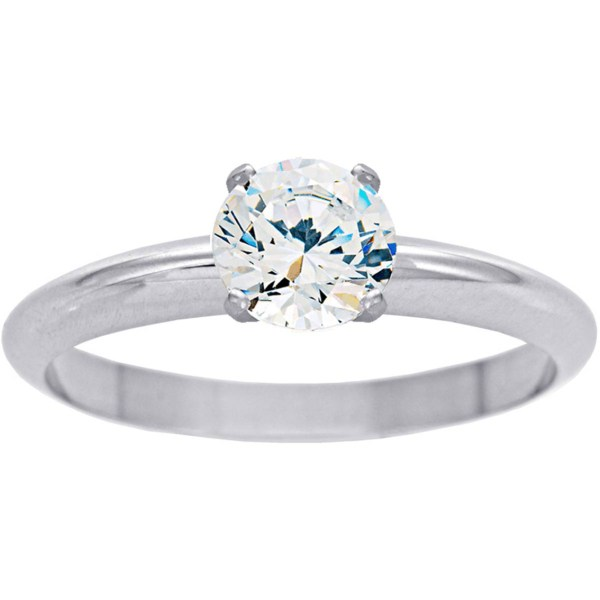 14k White Gold 1 2 Ct. Cut Colorless Diamond Engagement Ring Size 7 Rings