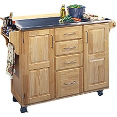 Home Styles Kitchen Cart Island With Oven Center Stainless Steel Top Carts