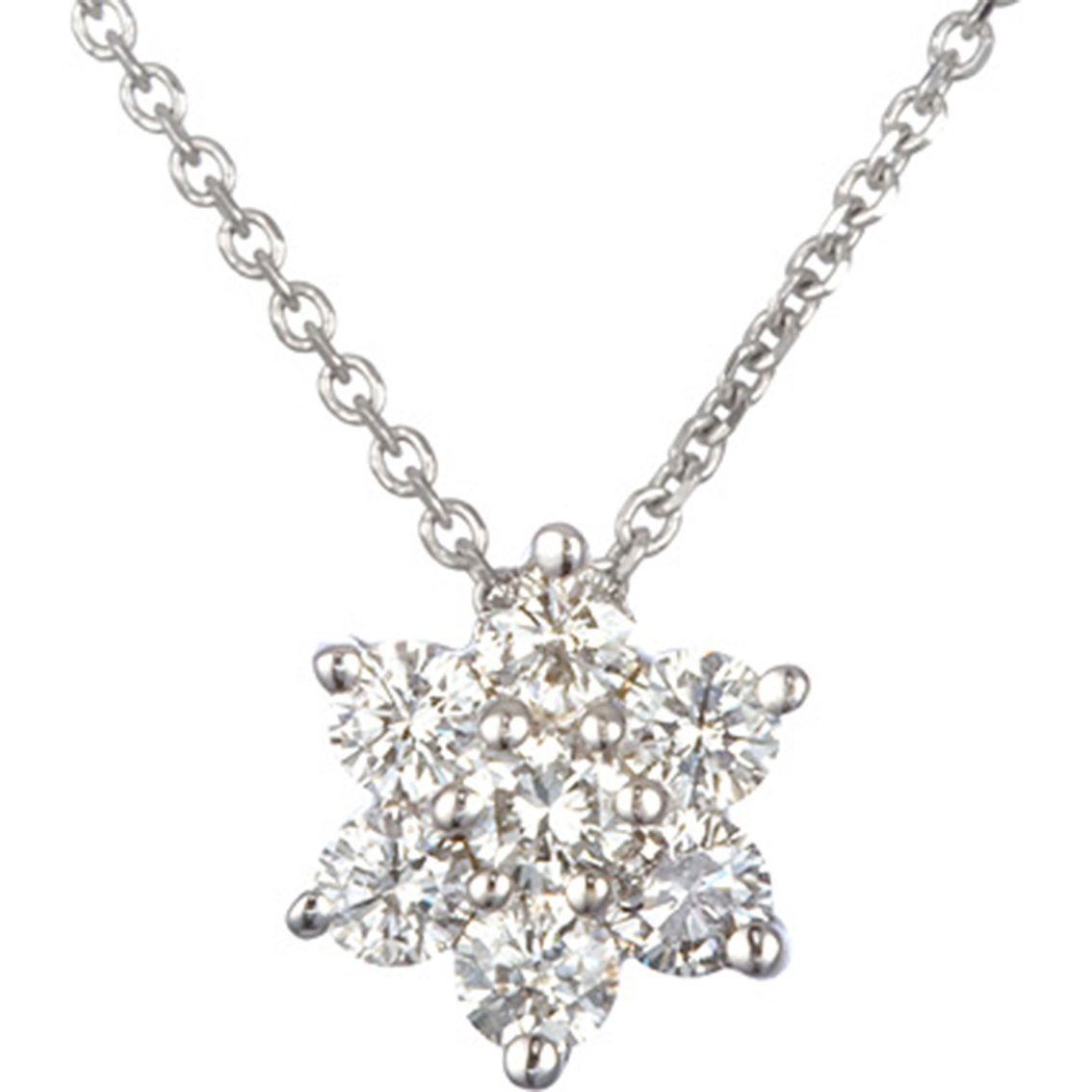14k White Gold 1 4 Ctw Petite Diamond Flower Cluster