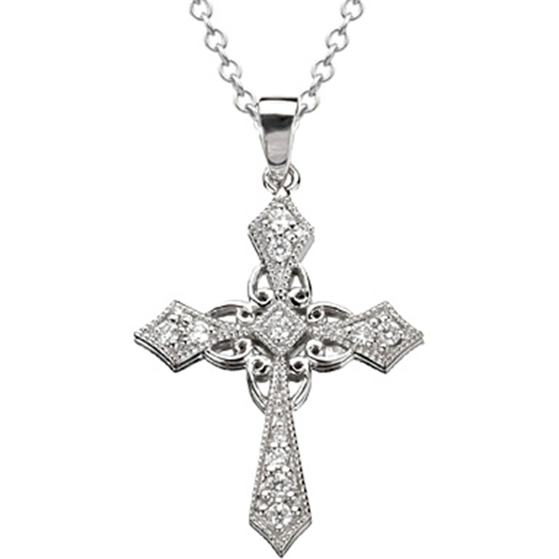 14k White Gold 1 4 Ctw Filigree Beaded Diamond Cross