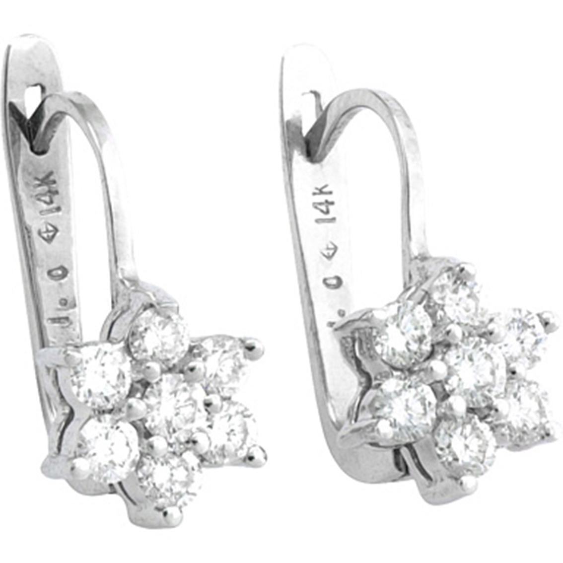 14k White Gold 1 2 Ctw Petite Diamond Flower Cluster