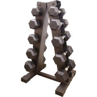 Cap Barbell Rubber-coated Hex Dumbbell Set With A-frame ...