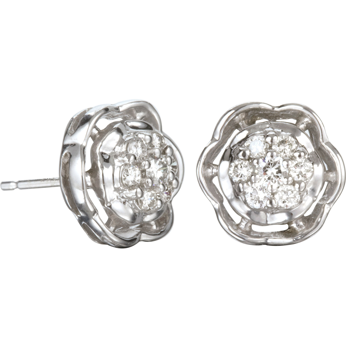 10k White Gold 1 3 Ctw Diamond Cluster Earrings