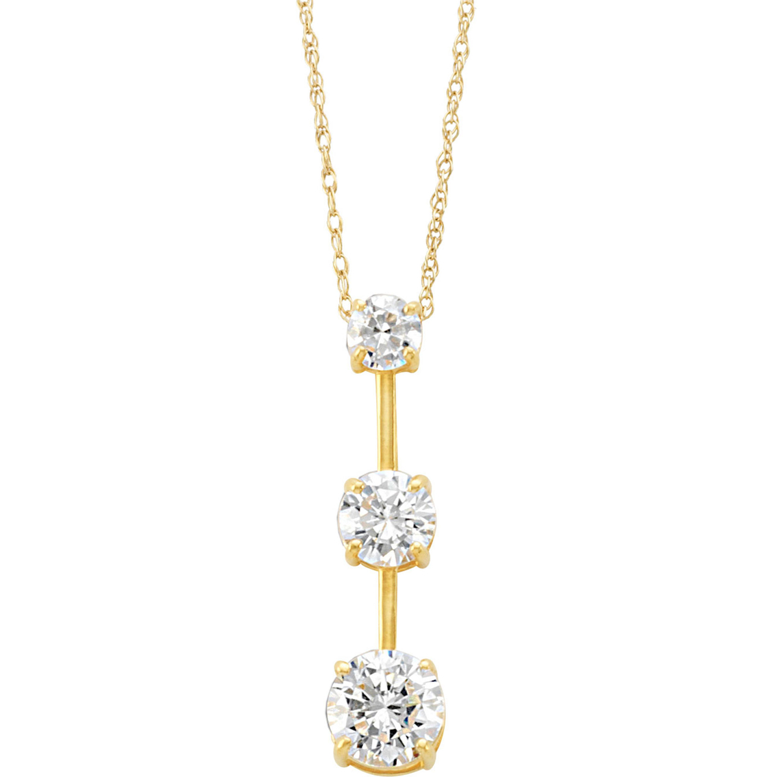 14k Yellow Gold 3 Stone Cubic Zirconia Journey Pendant