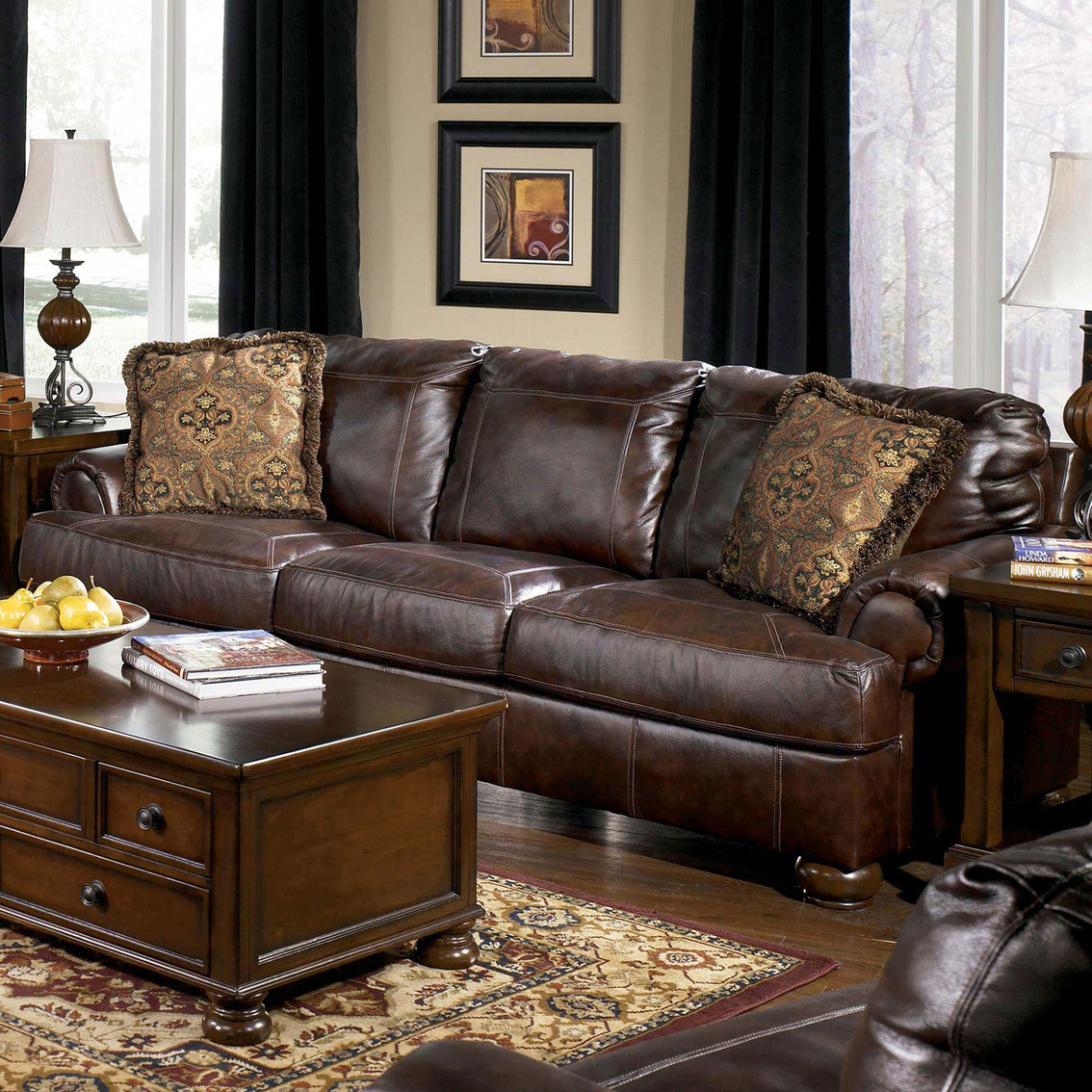 ashley axiom leather sofa extra small corner walnut sofas and couches home