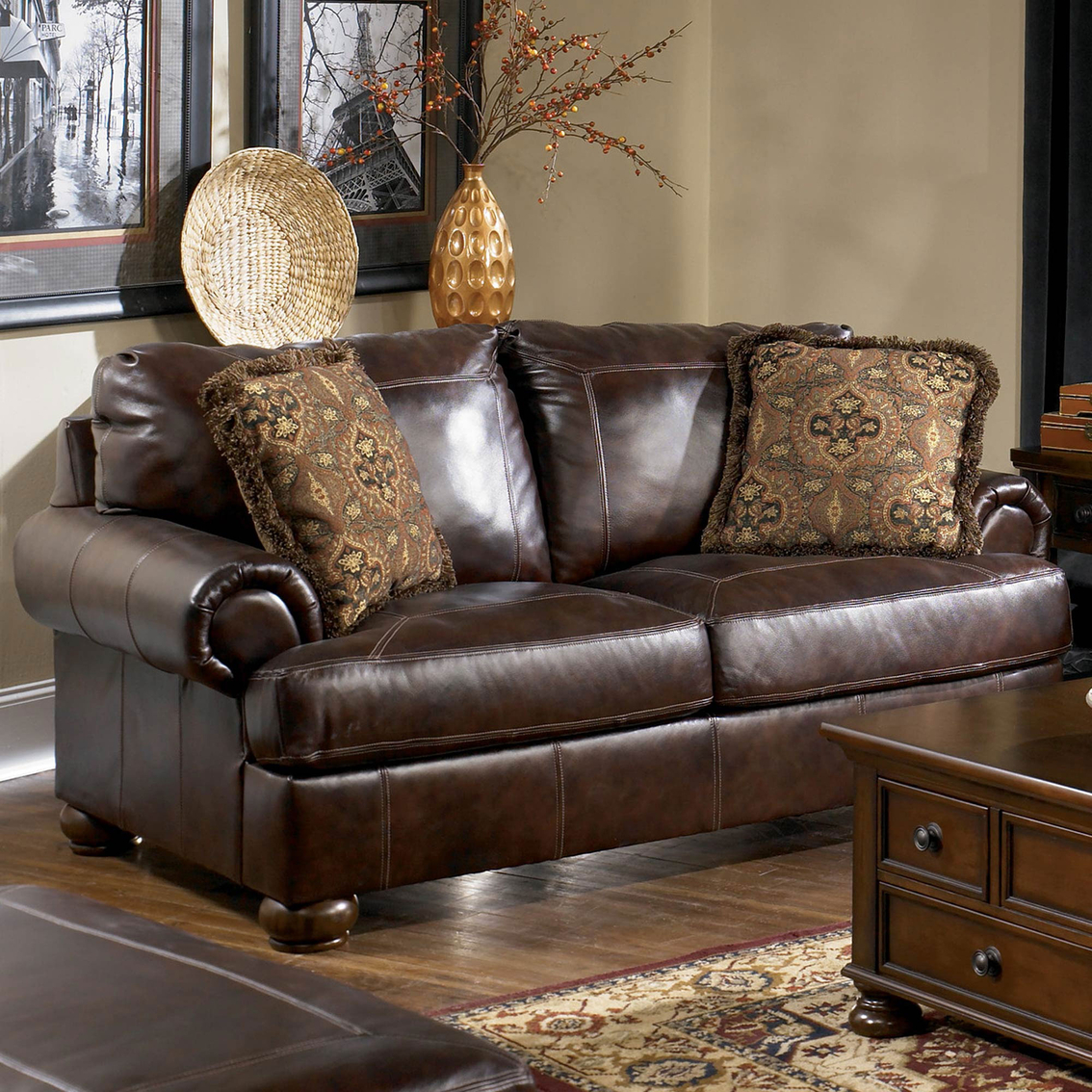 ashley axiom leather sofa where can i donate my old walnut loveseat sofas and couches home