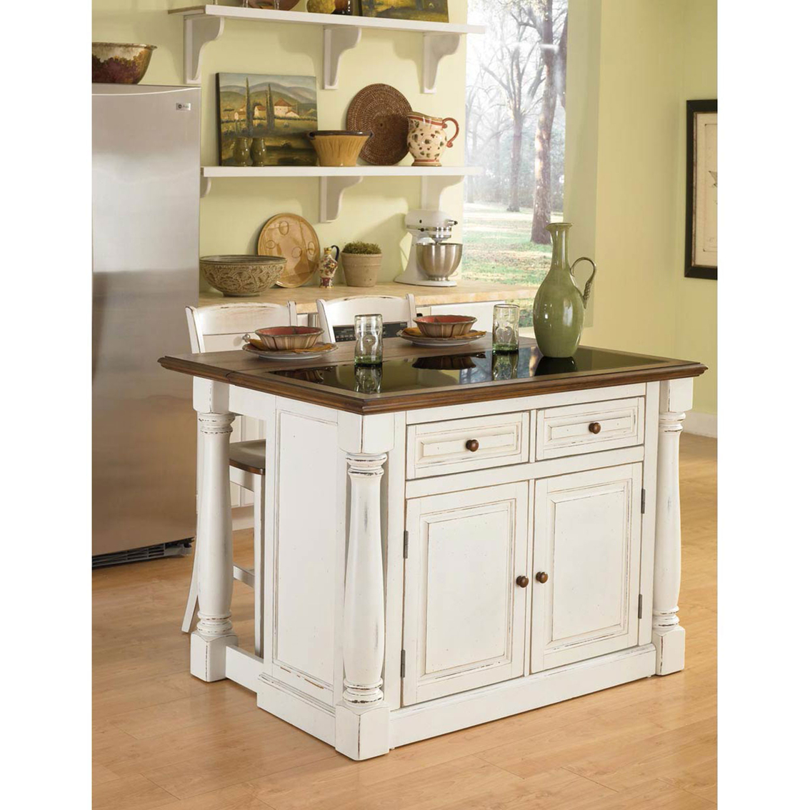 monarch kitchen island elkay faucets home styles and two stools with