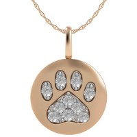 14k Rose Gold Paw Print Disk Pendant With Diamond Accents ...