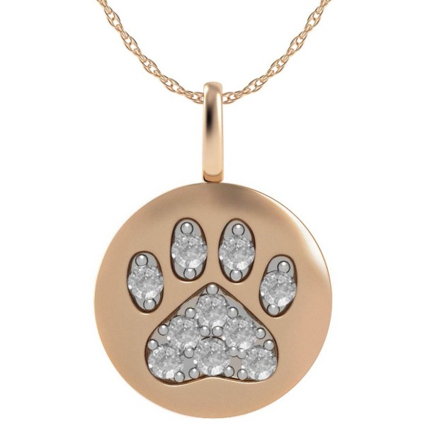 14k Rose Gold Paw Print Disk Pendant With Diamond Accents