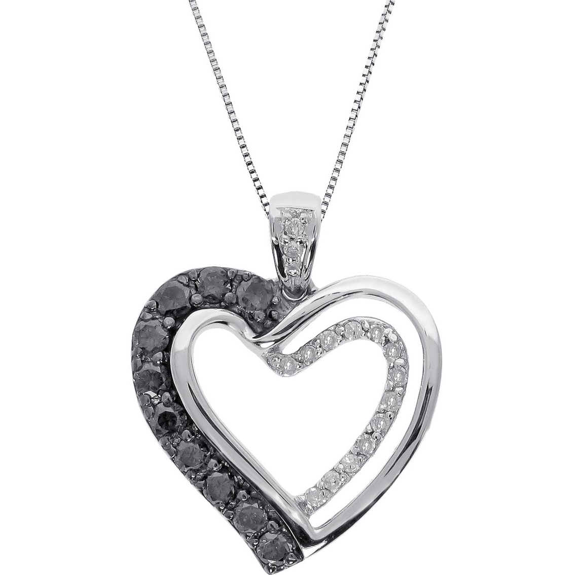 Sterling Silver 3/8 Ctw Black And White Diamond Heart