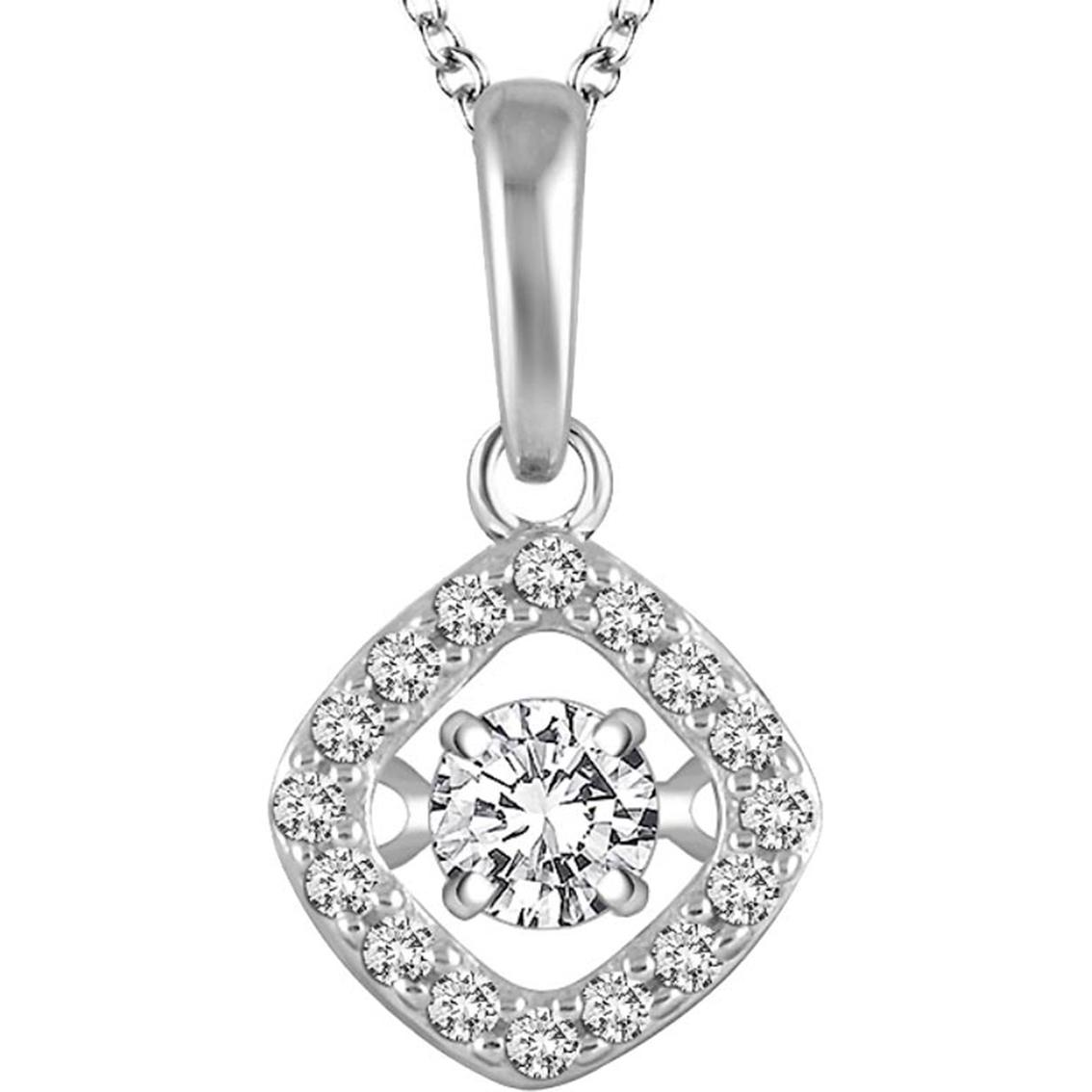 14k White Gold 1 4 Ctw Dancing Diamond Halo Pendant