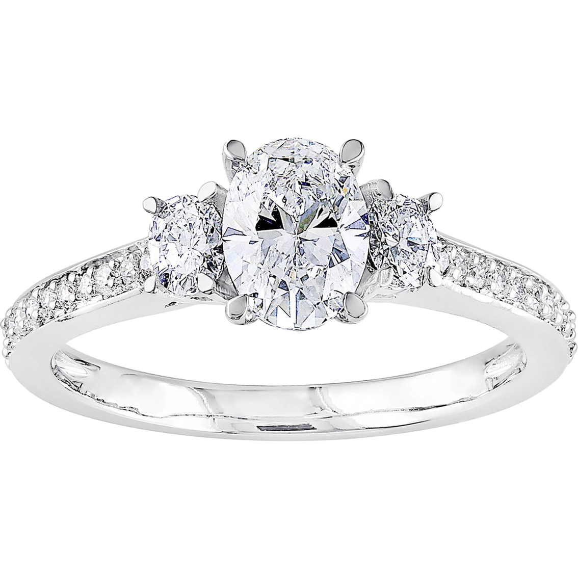 Diamore 14k White Gold 1 1 10 Ctw Oval Cut Diamond 3 Stone