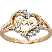 Palmbeach 10k Gold Mom Heart Ring With Diamond Accents