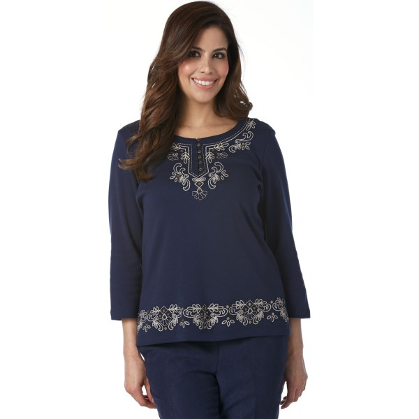 Alfred Dunner Petites Embroidered Knit Top Apparel Exchange